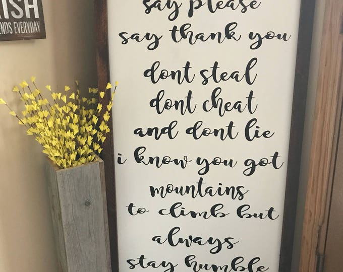 Always Stay Humble And Kind Rustic Humble And Kind Framed Farmhouse Sign Farmhouse Decor Fixer Upper 26x50 Wood Sign