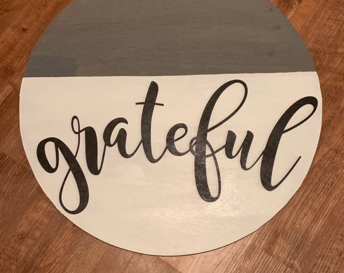 Round Sign Large Rustic Grateful Farmhouse Wood Sign