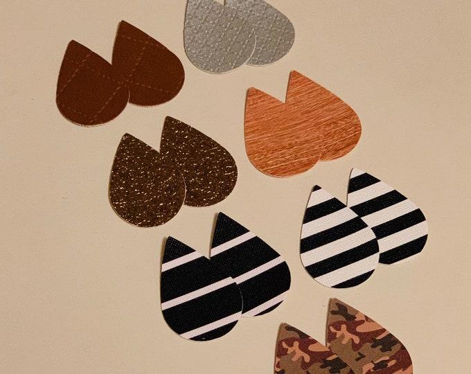 Camouflage Teardrops, Silver, Stripe Leather Alternative, Faux Leather, Teardrops 14 Pieces Leather Earring Cutouts