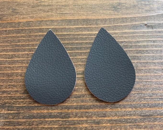 Black Leather Alternative, Faux Leather, Teardrops