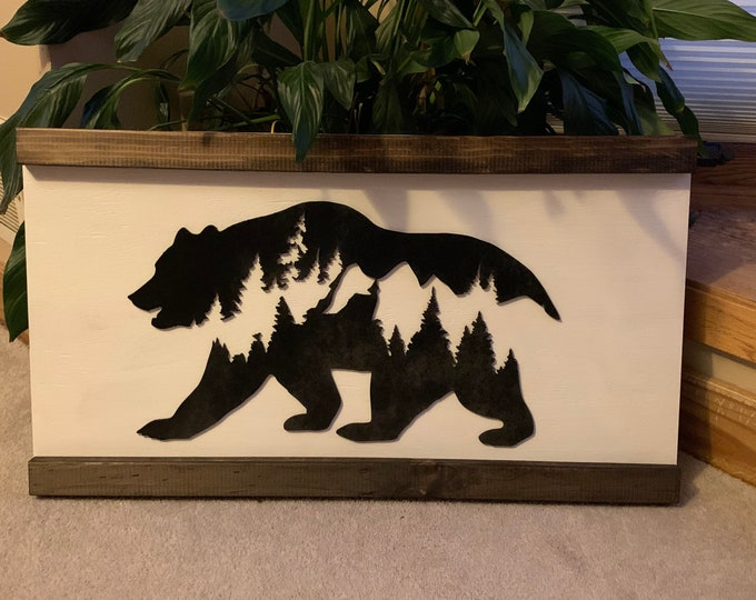 Rustic Bear Woodland Forest Nursery Laser Cut Wood 3D Farmhouse Decor Framed Handmade Rustic Wood Sign Fixer Upper Style