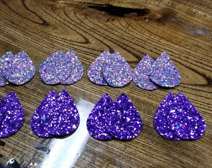 Leather Earring Cutouts Glitter Holiday Collection Light Purple, Dark Purple Leather Alternative, Faux Leather, Teardrops 16 Pieces