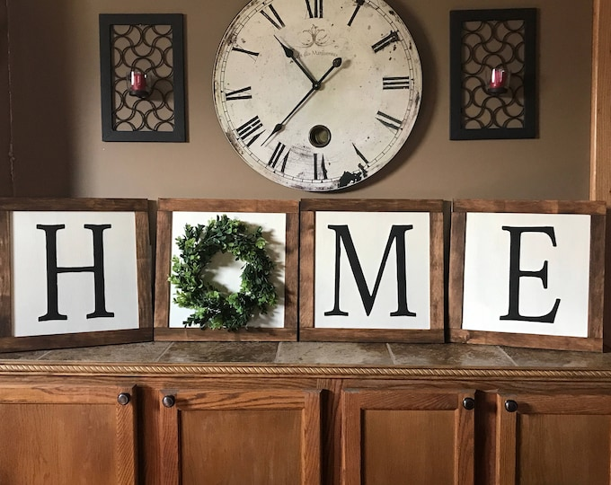 Home Boxwood Tile Block Boxwood Wreath Home Framed Wood Sign