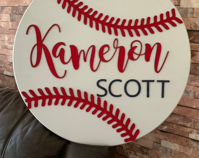 Round Sign Kids Name Nursery Boys Room 3D Wood Cut Round Custom Name Sign