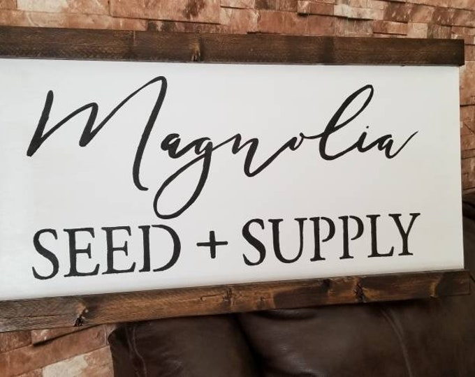 Magnolia Seed And Supply Farmhouse Decor Framed Handmade Rustic Wood Sign Fixer Upper Style