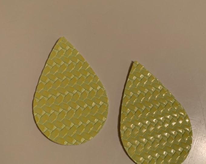 Neon Green Basketweave Print Leather Alternative, Faux Leather, Teardrops