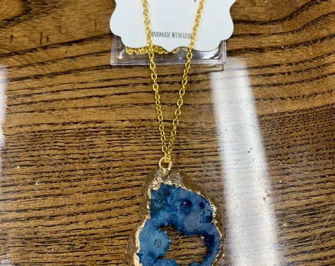 Blue Geode Necklace Agate Pendent Agate Jewelry Crystal Boho Necklace Gift