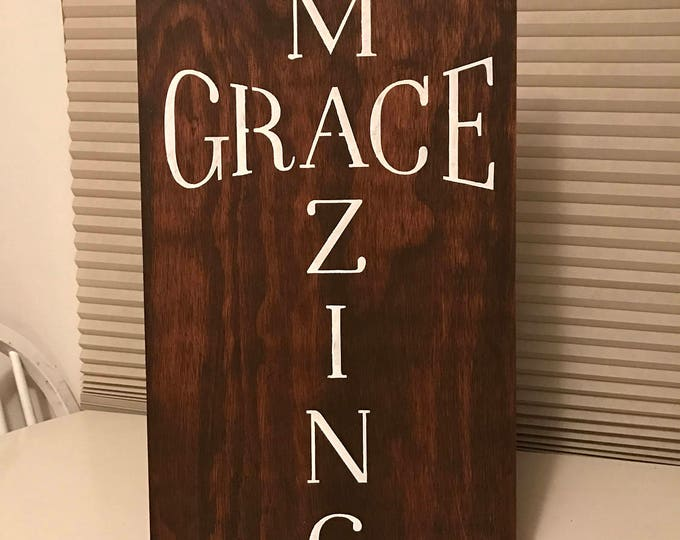 Amazing Grace Lords Prayer Religious Thankful Amen 12x24 Stained Rustic Wood Sign