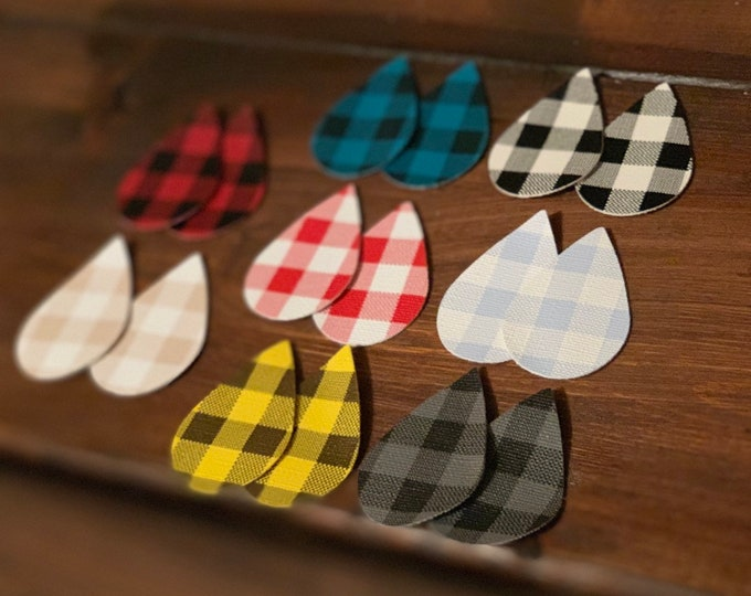 Buffalo Check Lot Teardrops, Leather Alternative, Faux Leather, Teardrops 8 Pairs Leather Earring Cutouts