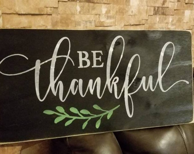 Be Thankful 12x24 Rustic Distressed Fixer Upper Farmhouse Decor Wood Sign