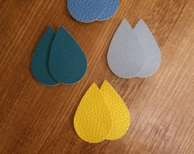 Yellow, Blue, Teal Leather Alternative, Faux Leather, Teardrops 8 Pieces Earring Making
