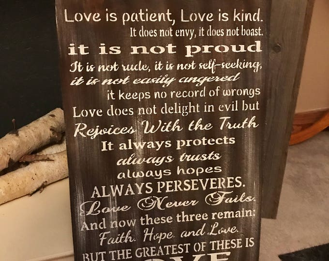 Love Is Patient Love Is Kind Corinthians 13 Handmade Rustic Wood Sign Fixer Upper Style