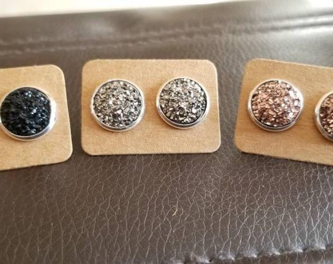 12mm Druzy Style Black Gunmetal Rose Gold Silver Stud Earring Set