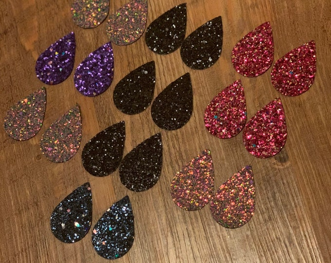 Blue Glitter Teardrops, Purple, Pink, Black and Leather Alternative, Faux Leather, Teardrops 20 Pieces Leather Earring Cutouts