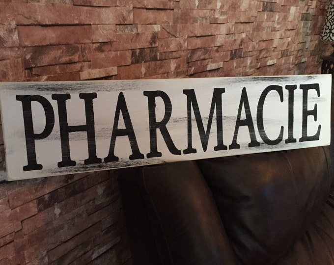 Pharmacy Rustic Country Fixer Upper Style FarmHouse Wood Sign 30 inches long!