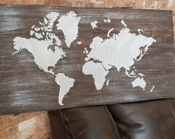 Map Of The World Family Travel Rustic Wood Sign