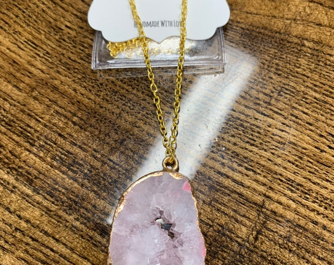 Geode Necklace Agate Pendent Agate Jewelry Crystal Boho Necklace Gift