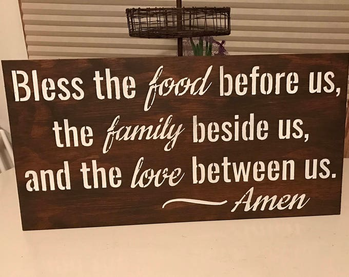 Bless The Food Before Us Staines Rustic Family Thankful Wood Sign