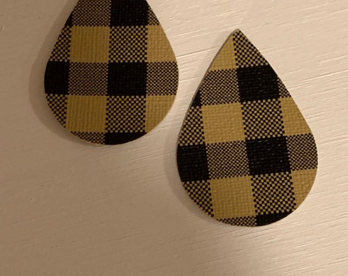 Light Brown Buffalo Check Leather Alternative, Faux Leather, Teardrops For Earring Making