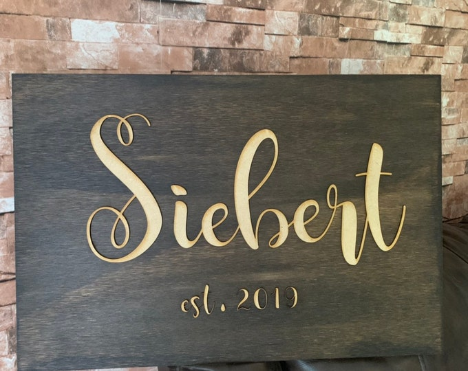 Custom Family Last Name Wood Sign 3D Cut Personalized Custom Family Name Wood Sign