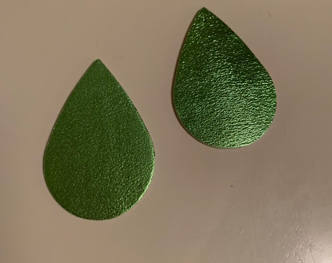 Bright Neon Green Metallic Sparkle Leather Alternative, Faux Leather, Teardrops For Earring Making