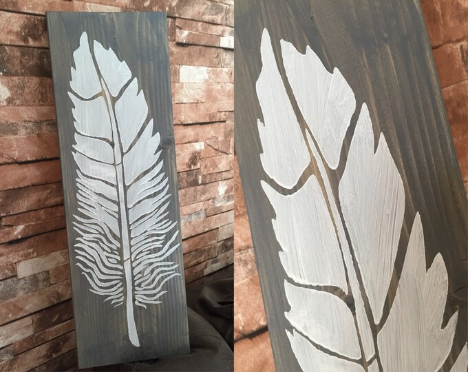 Feather Rustic Wood Sign Be Brave Wish Dream Big