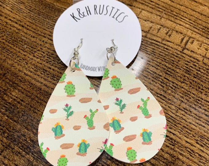Cactus Faux Leather Earrings