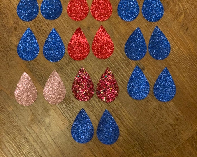 Blue Glitter Teardrops, Red, Pink, Leather Alternative, Faux Leather, Teardrops 20 Pieces Leather Earring Cutouts