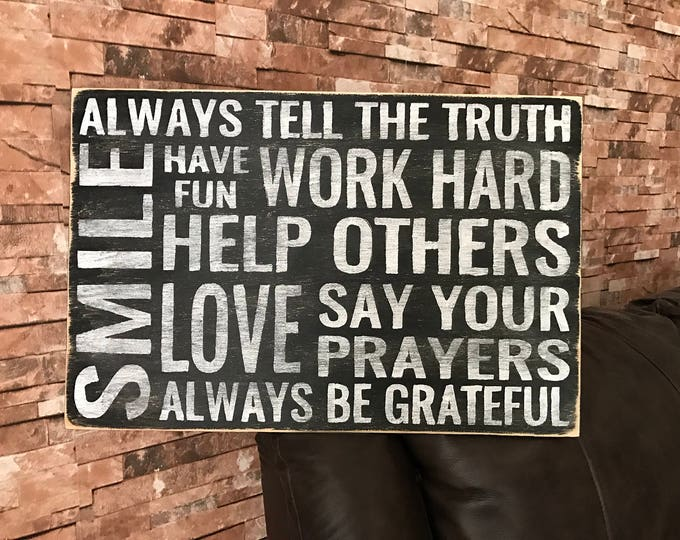 Always Tell The Truth Family Rules Fixer Upper Inspired Wood Sign