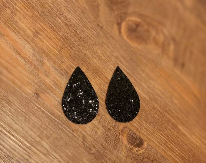 Black Sparkle Leather Alternative, Faux Leather, Teardrops