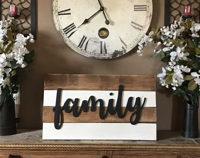 Shiplap Family Sign 14x24 Greige White Rustic Cottage Farmhouse Style Vintage Wood Decor Distressed Hanging Painted Wooden Board Wall