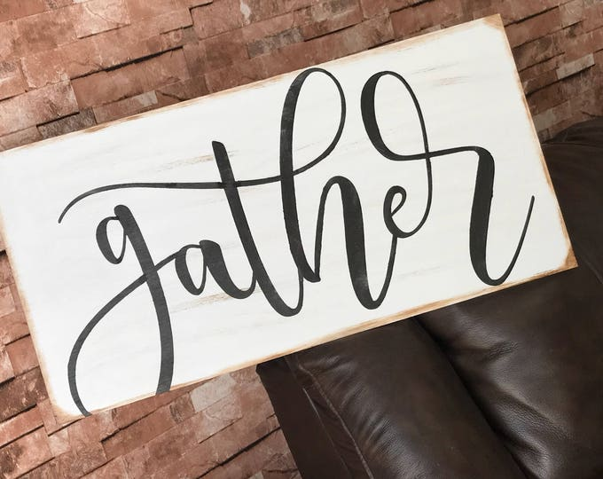 Gather Rustic Farmhouse Decor Fixer Upper Style 12x24 White Wood Sign