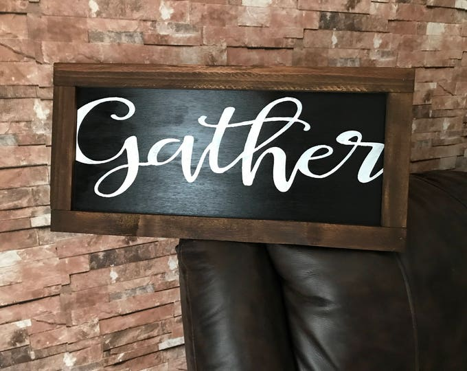 Gather Rustic Framed Black Distressed Grateful Wood Sign
