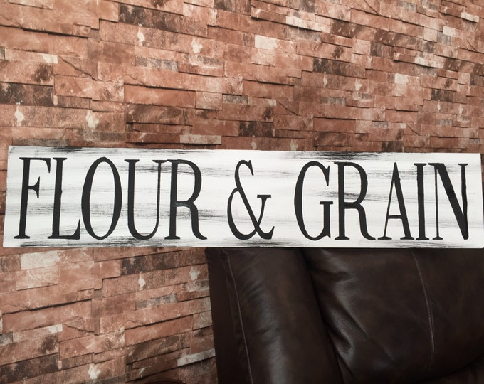 Flour & Grain Kitchen Farmhouse Rustic Country Fixer Upper Style Farm House Wood Sign 35 inches long!