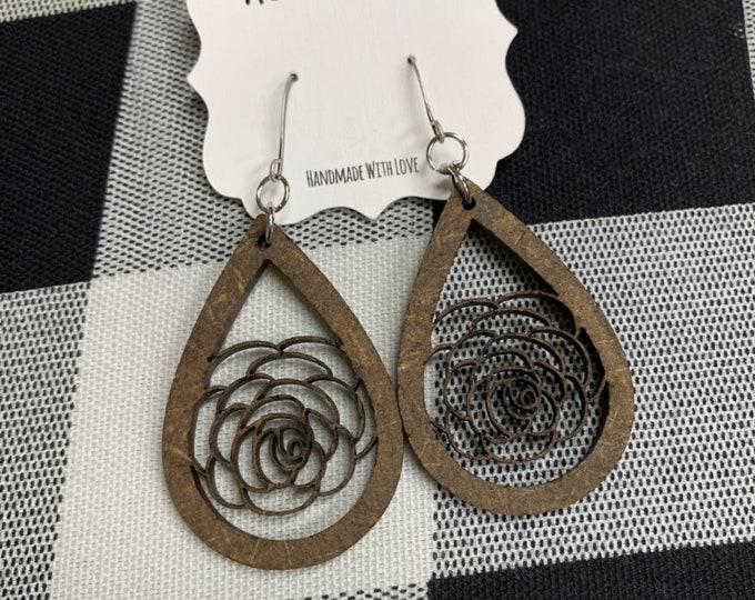 Laser Cut Wood Earrings Rose Floral Earrings Wooden