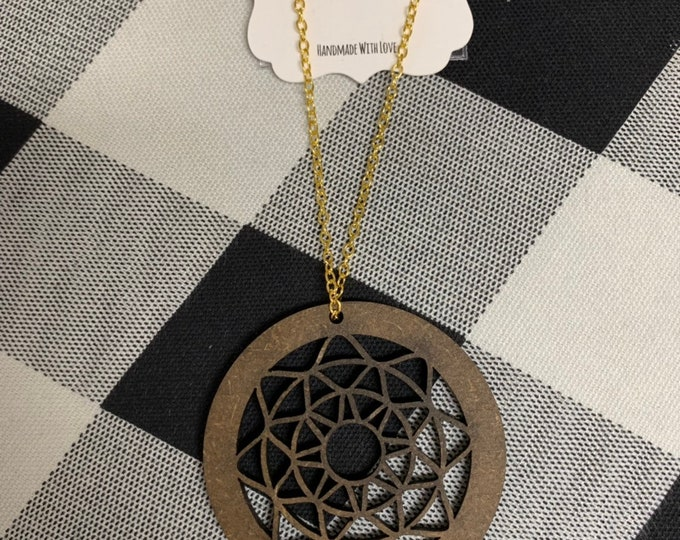 Laser Cut Wood Necklace Circle Geometric Earrings Wooden Boho
