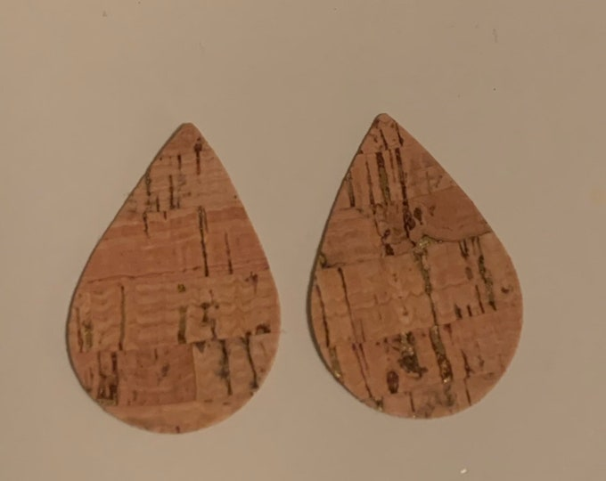 Cork With Gold Flecks  Leather Alternative, Faux Leather, Teardrops