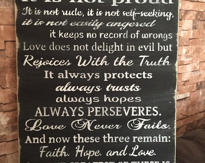 Love Is Patient Love Is Kind 1 Corinthians Rustic Primitive Distressd Wood Sign 16x24