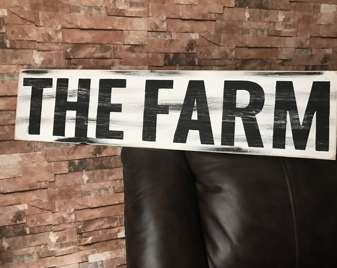 THE FARM Farmhouse Rustic Country Fixer Upper Style Farmhouse Decor Wood Sign 30 inches long!