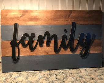 Shiplap Family Sign 14x24 Greige Stained Rustic Cottage Farmhouse Style Vintage Wood Decor Distressed Hanging Painted Wooden Board Wall