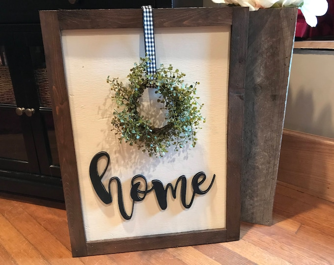 Home Wreath Framed Rustic Large Wood Sign Fixer Upper Style