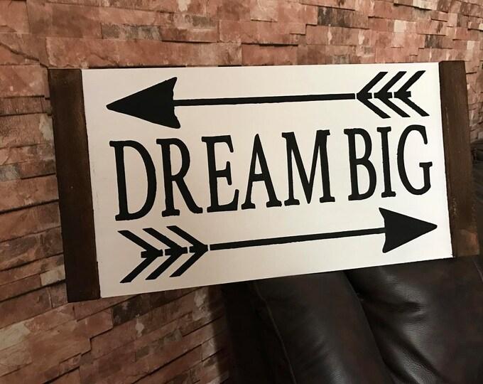 Dream Big Arrow Framed Wood Farmhouse ShabbyChic Kids Room Inspired Wood Sign