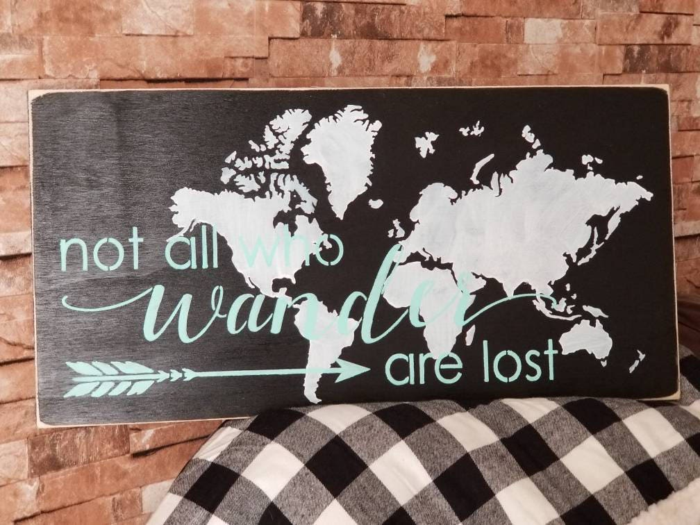 Not all who wander are lost world map rustic distressed wood sign gumiabroncs Image collections