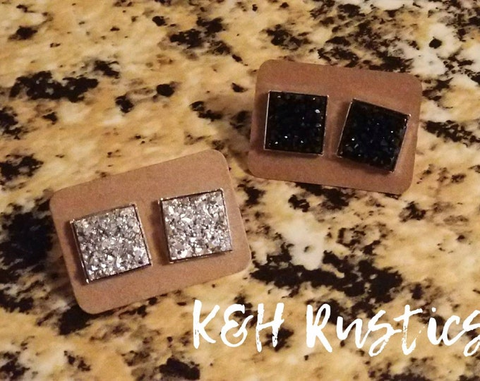 Druzy Earring Set - 2 Pairs Of Druzy Square Stud Earrings Light Silver And Black Druzy Gift Set