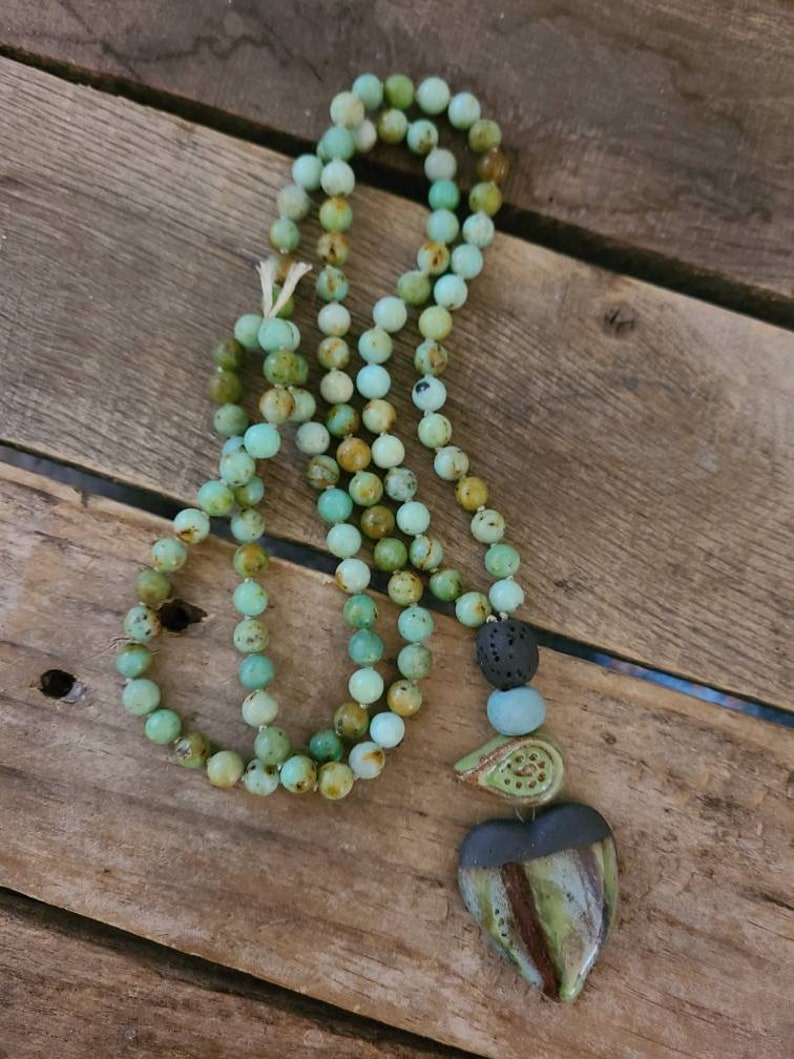 Geae ceramic pendant GROUNDING STABILITY 108 bead Terra Verde Agate Mala hand knotted with intentions