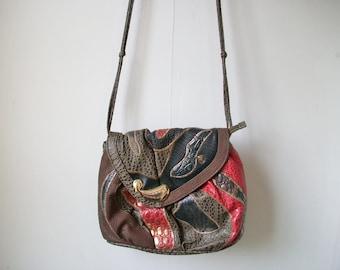 29c14922700 Alentino Patchwork Purse, Vintage Animal Print Paisley Patchwork Shoulder  Bag w/ Knotted Strap, Crossbody Bag