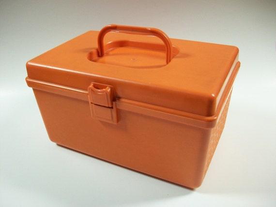 Vintage Orange Sewing Box Plastic Storage Container or Craft Etsy