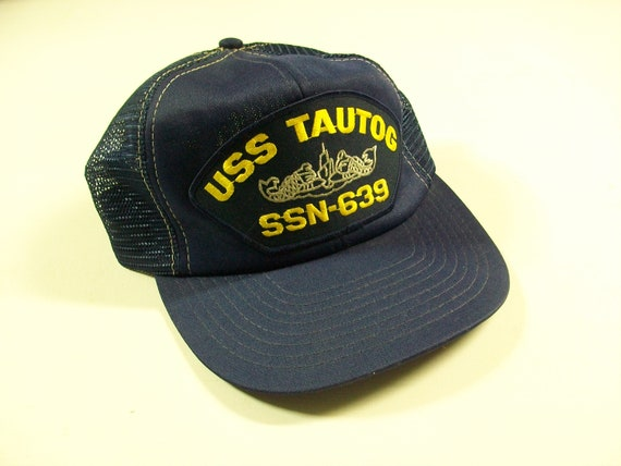 6cced5396e8cd5 USS Tautog SSN-639 Trucker Hat Vintage Navy Blue Mesh   Etsy