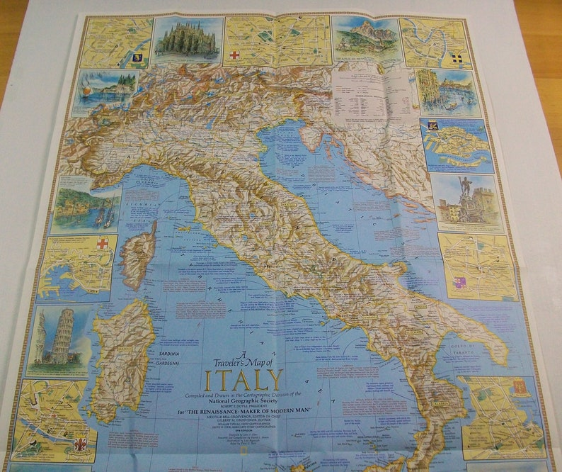 Vintage Italy Map National Geographic Map Vintage Italian Etsy