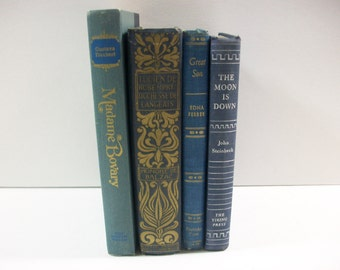 Blue Book Bundle, The Moon is Down, Great Son, Lucien De Rubempre and Madame Bovary, Blue Book Decor, 4 Blue Book Set, Photo Prop Staging